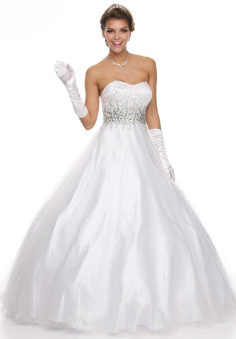 Studded Waist Sweetheart Neck White Long A Line Gown