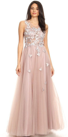 Metallic Embroidered Applique Short Homecoming Dress Blush