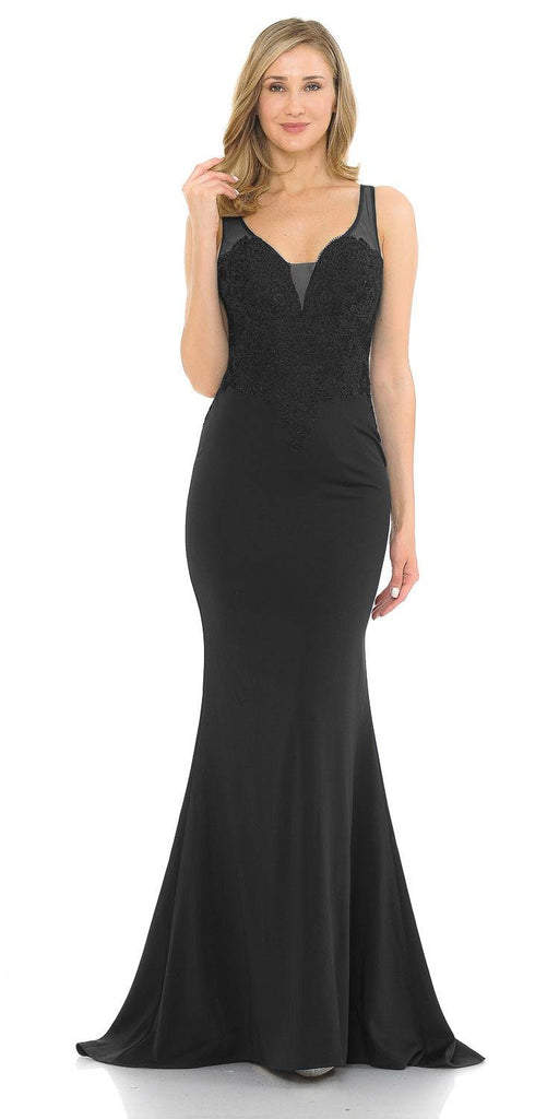Black Mermaid Long Prom Dress Appliqued Bodice