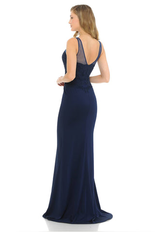 Navy Blue Mermaid Long Prom Dress Appliqued Bodice
