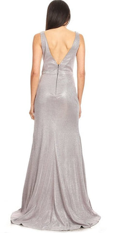 Sleeveless Long Prom Dress Silver with Slit