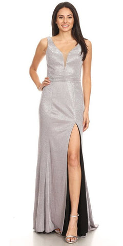 Long Fitted Metallic Gown Burgundy Ruched Side Sexy Leg Slit