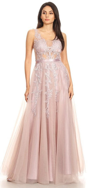 Stunning Illusion Appliqued Long Prom Dress Mauve
