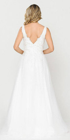 Appliqued V-Neck and Back Long White Wedding Dress