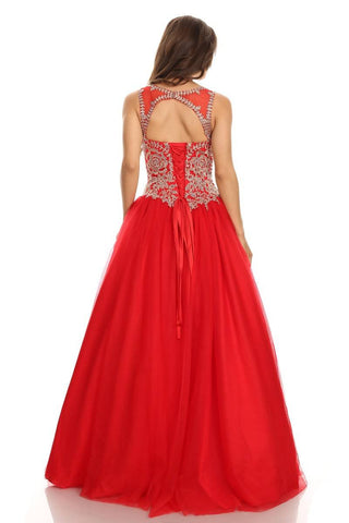 Red Quinceanera Dress with Golden Applique Cut-Out Back Sleeveless