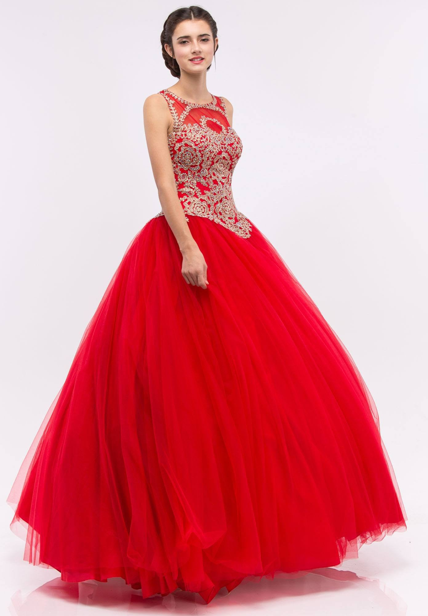 Red Quinceanera Dress with Golden Applique Cut-Out Back Sleeveless ...