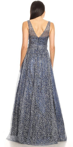 V-Neck and Back Glittered Long Prom Dress Navy Blue