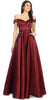 Burgundy Off-Shoulder Long Prom Dress with Pockets