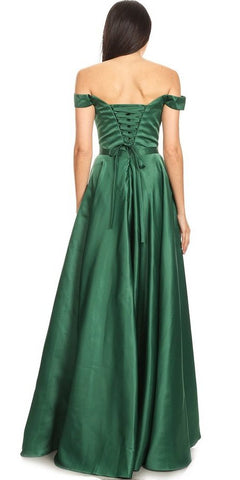 Hunter Green Off-Shoulder Long Prom Dress with Pockets