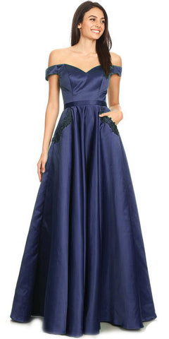 Two-Piece Satin Long Prom Dress with Pockets Navy Blue