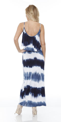 Kalea Tie Dye Overlay Maxi Dress Navy Blue White Round Neck