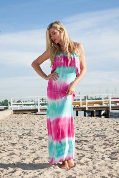 Kalea Tie Dye Overlay Maxi Dress Teal Pink Round Neck