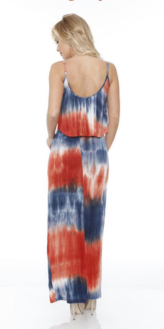 Kalea Tie Dye Overlay Maxi Dress Orange Navy Blue Round Neck