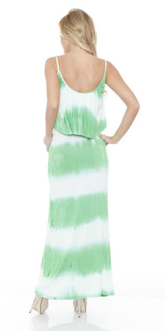 Kalea Tie Dye Overlay Maxi Dress White Green Round Neck