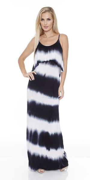 Kalea Tie Dye Overlay Maxi Dress Black White Round Neck