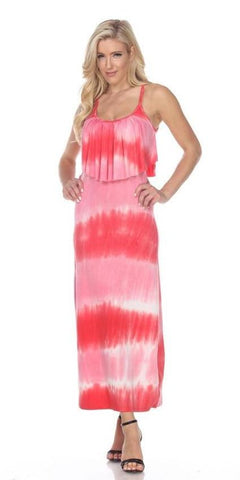 Kalea Tie Dye Overlay Maxi Dress Red Pink Round Neck