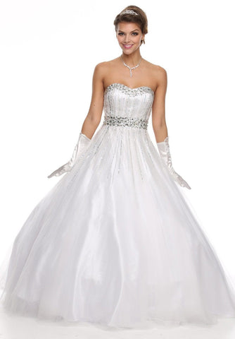 Strapless Sweetheart Bodice White Ballroom Gown