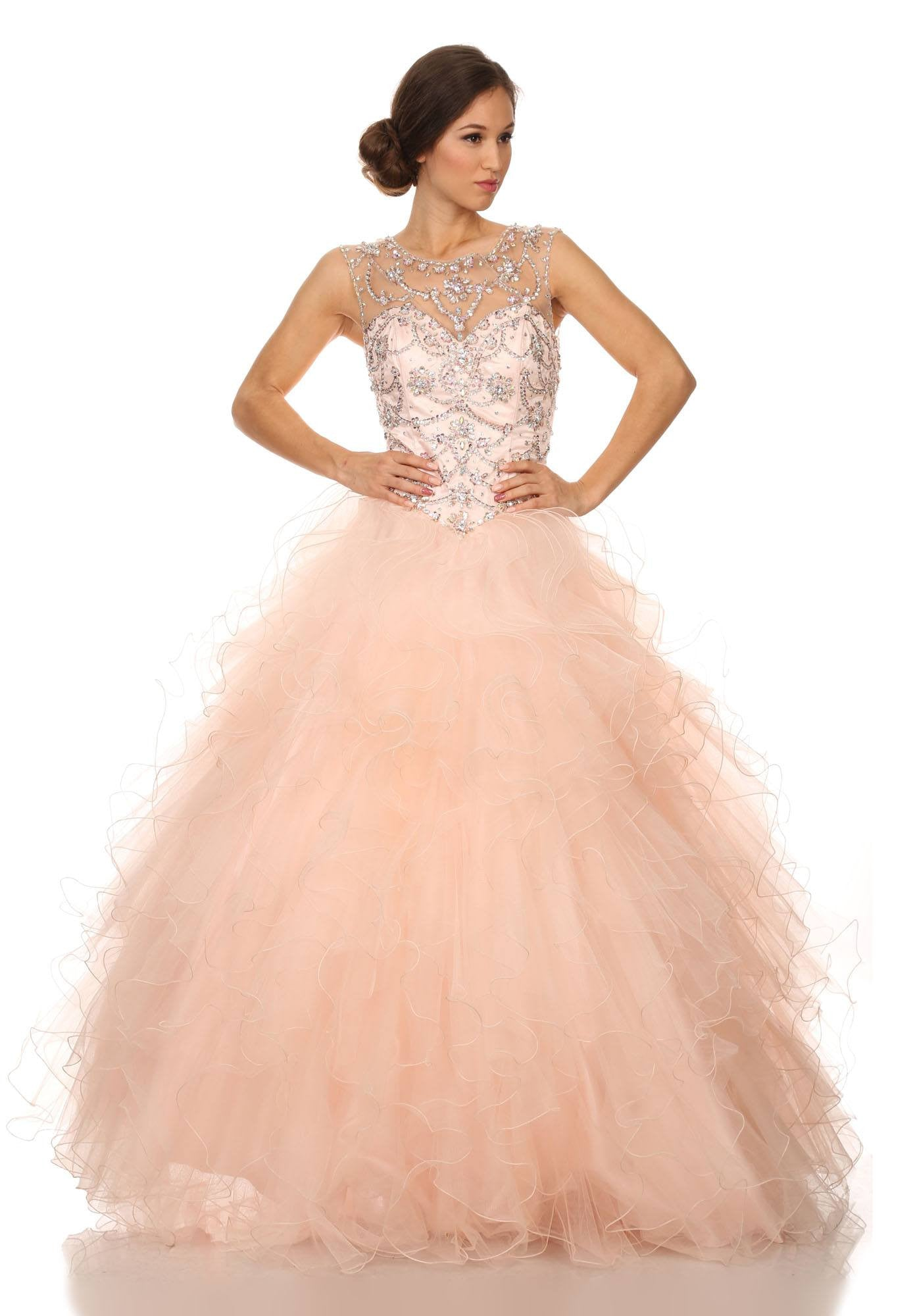 Illusion Beaded Bodice Ruffled Ball Gown Cut-Out Corset Back Blush ...