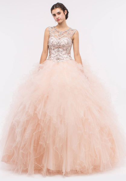 Illusion Beaded Bodice Ruffled Ball Gown Cut-Out Corset Back Blush