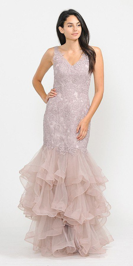 Tiered Mauve Appliqued Long Prom Dress