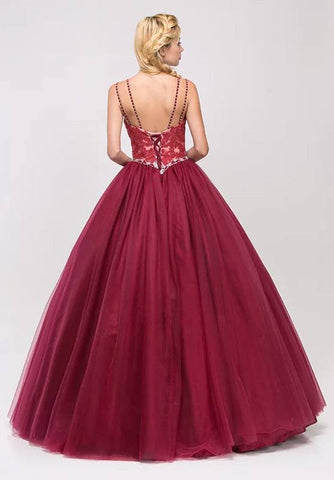 Burgundy Lace Beaded Quinceanera Dress Sweetheart Neck Lace Up Back