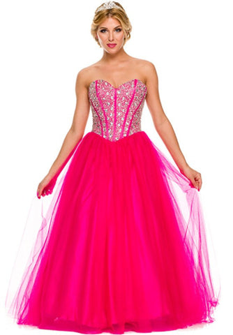 A Line Long Prom Dress Coral Strapless Empire Beaded Waist