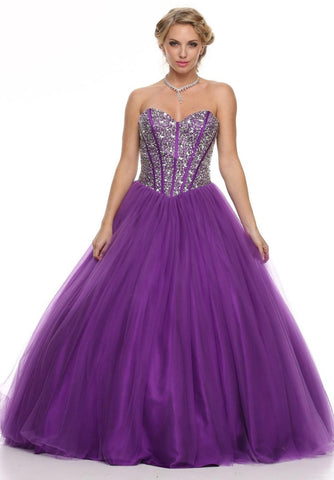 Corset Bodice Flared A Line Purple Quinceanera Gown