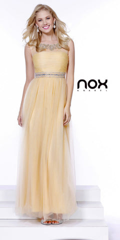 Floor Length Mesh Prom Gown Gold A Line Scoop Beaded Neck