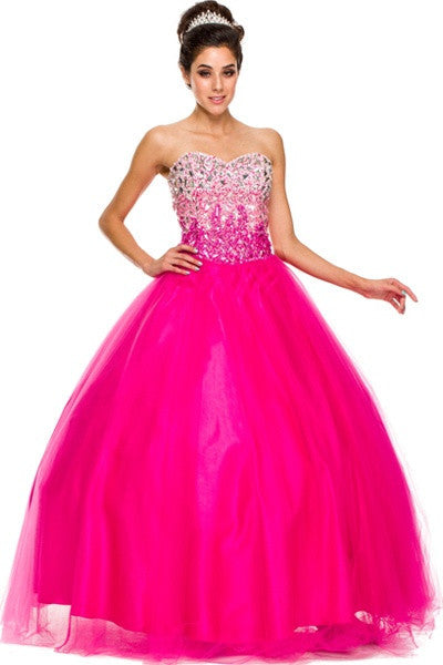Floor Length Sweetheart Bodice Fuchsia Quinceanera Gown
