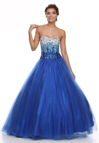 Floor Length Sweetheart Bodice Royal Blue Quinceanera Gown