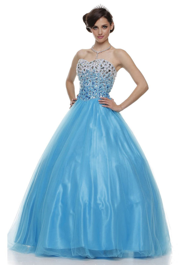 Floor Length Sweetheart Bodice Turquoise Quinceanera Gown
