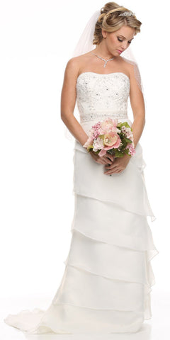 Layered Strapless Studded Ivory Column Wedding Gown