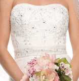 ON SPECIAL - LIMITED STOCK - Layered Strapless Studded White Column Wedding Gown