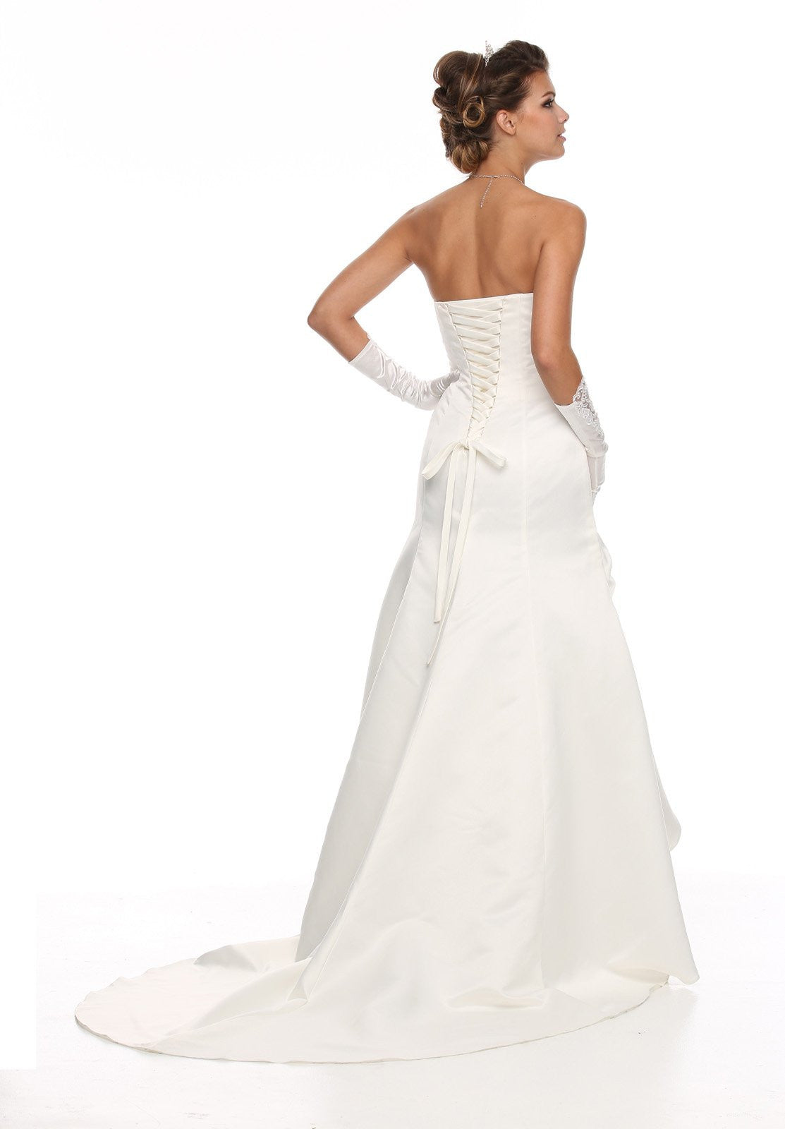 Strapless Studded Bodice Side Gathered Ivory Wedding Gown ...