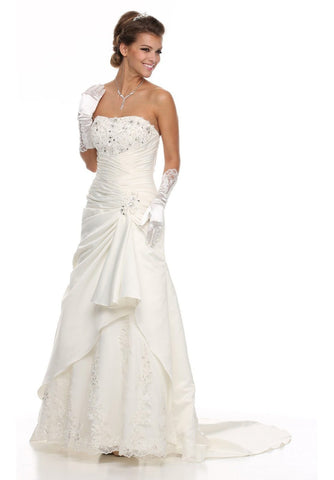 Strapless Studded Bodice Side Gathered Ivory Wedding Gown