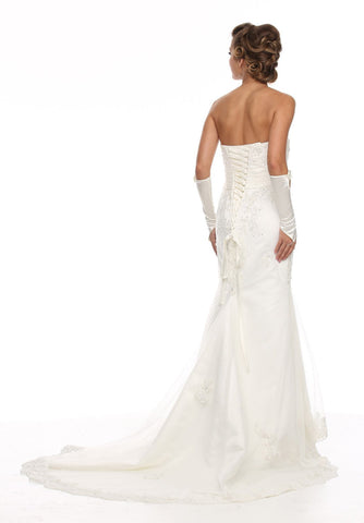 Floor Length Strapless Embroidered White Wedding Gown