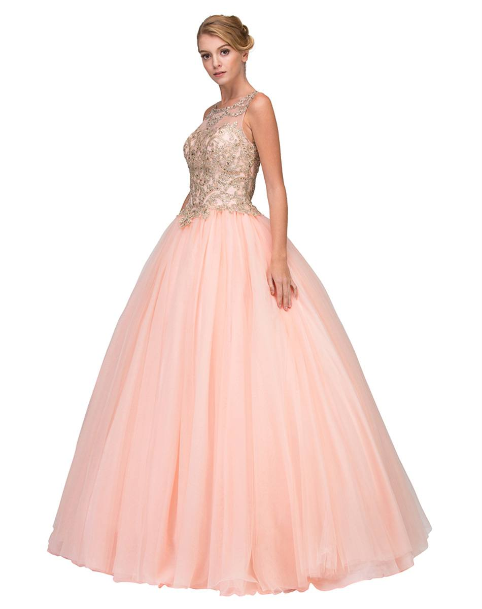 bf7d298932c Eureka Fashion 3188 Cut-Out Back Embroidered Quinceanera Dress Blush ...
