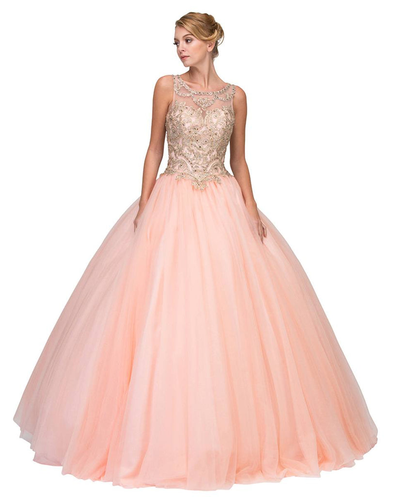 Cut-Out Back Embroidered Quinceanera Dress Blush