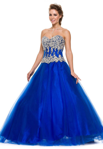 Studded Corset Bodice Long Royal Blue Quinceanera Princess Gown
