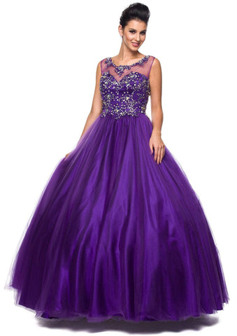 Jewel Neckline Mesh Yoke Long Purple Engagement Gown