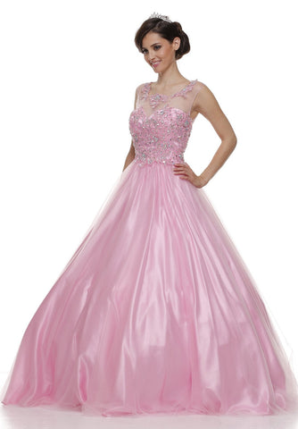 Jewel Neckline Mesh Yoke Long Light Pink Engagement Gown