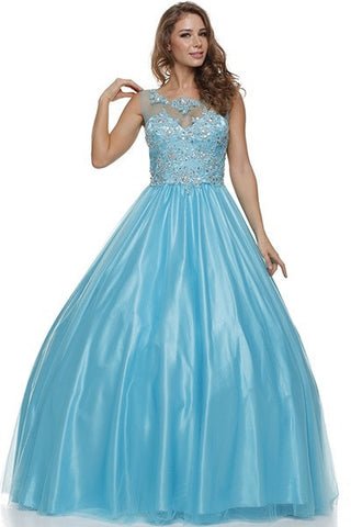 Jewel Neckline Mesh Yoke Long Turquoise Engagement Gown