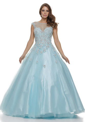 Illusion Neckline Floral Appliqued Light Aqua Long Ball Gown
