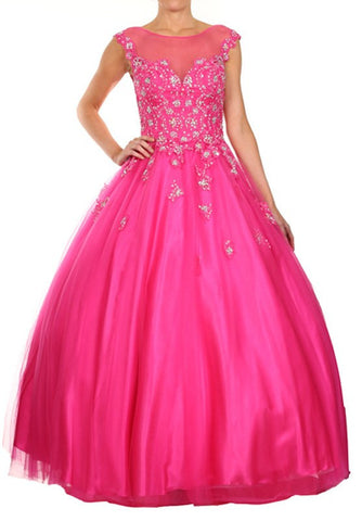 Illusion Neckline Floral Appliqued Fuchsia Long Ball Gown