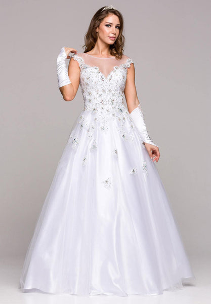 Illusion Neckline Floral Appliqued White Long Ball Gown
