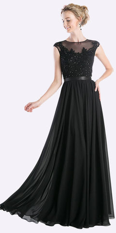 Cinderella Divine 3222 - Sheer Neckline Flora Applique Sequin Evening Dress Black