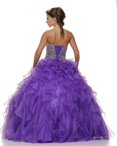 Corset Bodice Strapless Ruffled Tiered Purple Puffy Gown Back