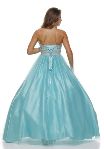 Beaded Empire Waist Corset Bodice Jade Strapless Ball Gown