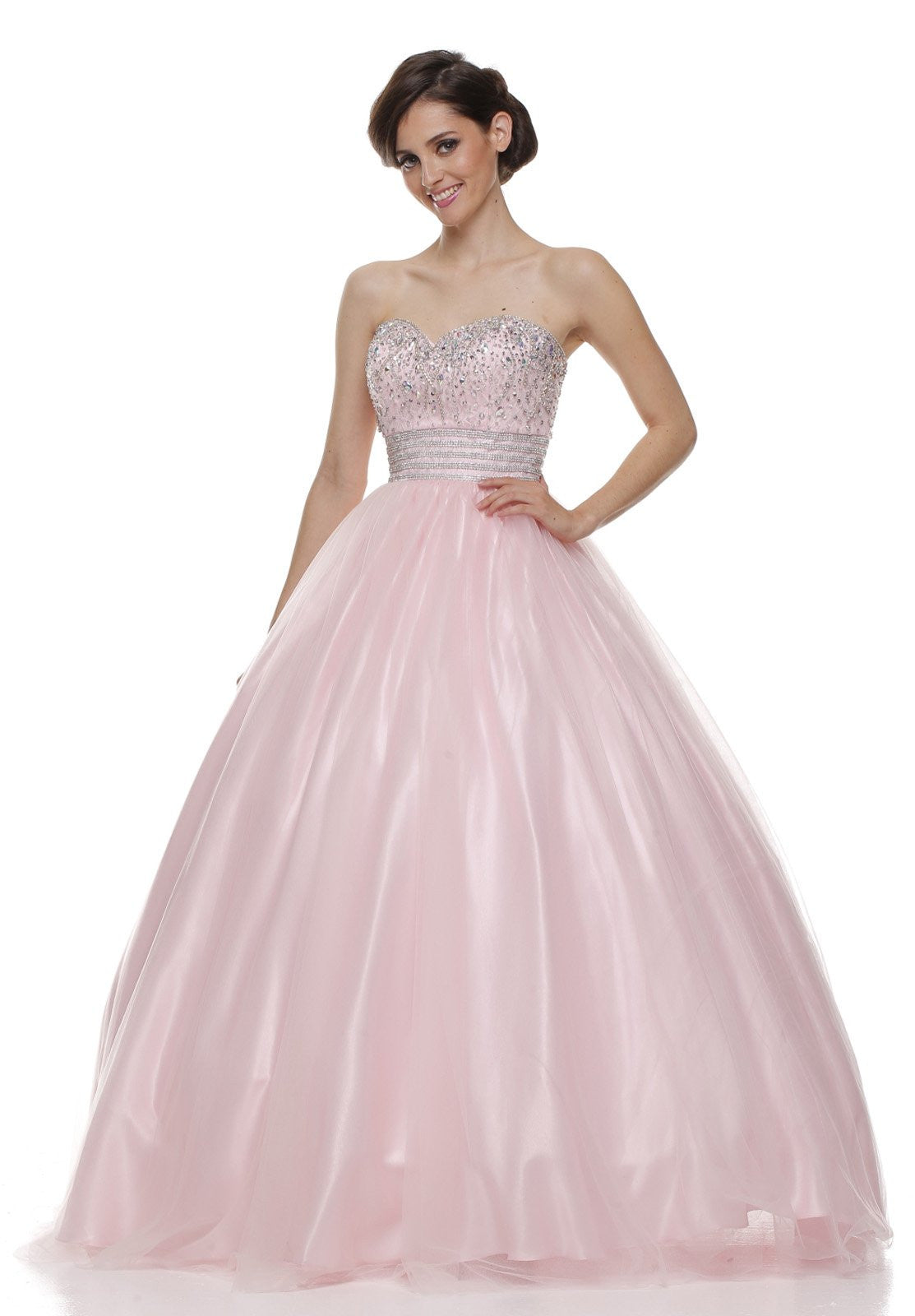 Beaded Empire Waist Corset Bodice Light Pink Strapless Ball Gown ...
