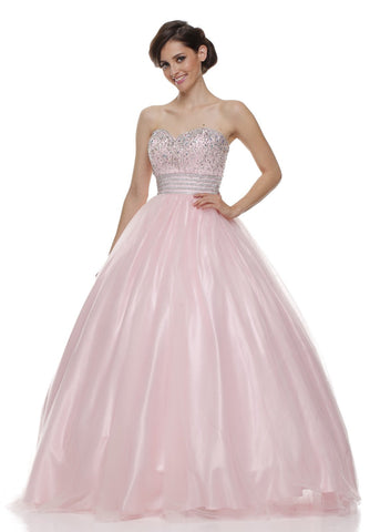 Beaded Empire Waist Corset Bodice Light Pink Strapless Ball Gown